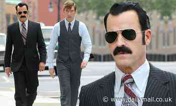 Justin Theroux films as G. Gordon Liddy with Domhnall Gleeson for The White House Plumbers