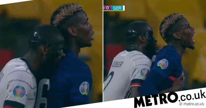 Antonio Rudiger appears to bite Paul Pogba during France's Euro 2020 clash with Germany