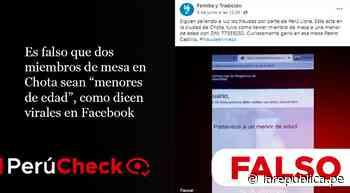 Es falso que dos miembros de mesa en Chota sean menores de edad, como dicen virales en Facebook - LaRepública.pe