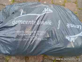 Inzamel- en ruilactie van oude restafvalzakken met logo Lennik - Persinfo.org