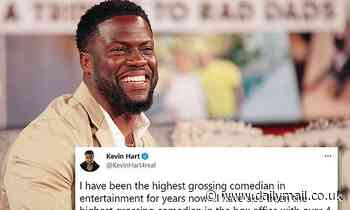 Kevin Hart fires off tweets defending his comedy from 'slander' by critics who say 'he's not funny'