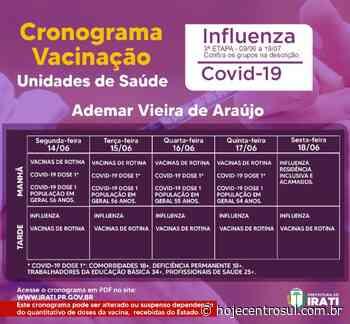 Irati amplia vacinação da Covid-19 para 55 e 54 anos | Hoje Centro Sul - Hoje Centro Sul