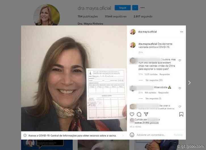 Secretária Mayra Pinheiro, conhecida como 'capitã cloroquina', é vacinada contra Covid-19 no DF - G1