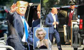 Marilyn seduces another president! Donald Trump leaves Trump Tower with artwork of famous sex siren