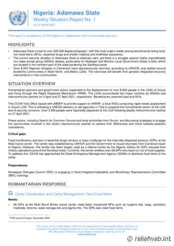 Nigeria: Adamawa State - Weekly Situation Report No. 1 (As of 28/05/2021) - Nigeria - ReliefWeb