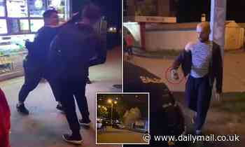 Brawler throws grande after taking two hits to the face in street fight in Ukraine