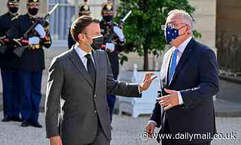 Scott Morrison meets Emmanuel Macron in France to discuss submarine program