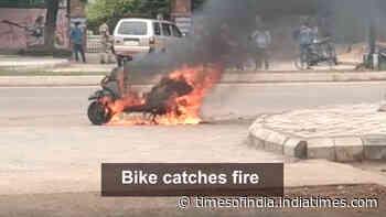 Bhubaneswar: Two-wheeler catches fire near Ramadevi University