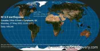 Quake info: Light mag. 3.9 earthquake - 9.9 km north of Repentigny, Lanaudière, Quebec, Canada, on 17 May 7:03 am (GMT -4) - 2863 user experience reports - VolcanoDiscovery