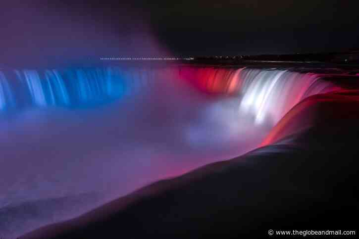 Hockey Lights in Canada: Niagara Falls lit up red, blue and white for Russia one day and Montreal Canadiens the next - The Globe and Mail