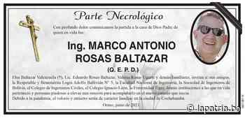 Parte Necrológico: Ing. MARCO ANTONIO ROSAS BALTAZAR (QEPD) - Periódico La Patria (Oruro - Bolivia)