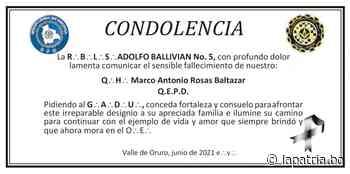 Condolencia: Q.•.H.•. Marco Antonio Rosas Baltazar (QEPD) - Periódico La Patria (Oruro - Bolivia)