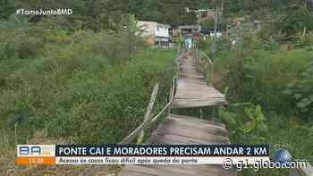 Moradores relatam dificuldades após parte de ponte cair durante chuva em Salvador - G1