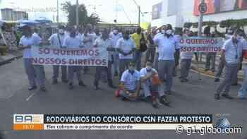 Rodoviários fazem novo protesto em Salvador reivindicando pagamento de diretos trabalhistas - G1