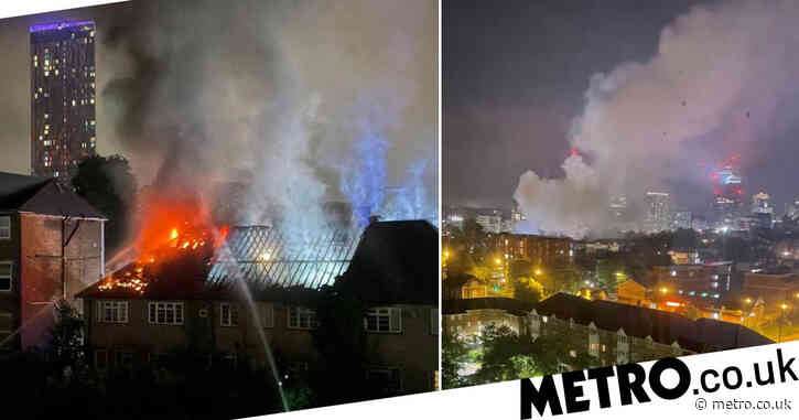 Man saved as fire rips through block of flats in south London
