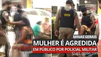 Vídeo mostra mulher sendo agredida em público por policial militar em Formiga - G1