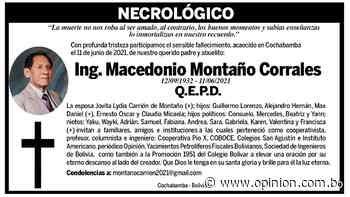 Ing. Macedonio Montaño Corrales - Opinión Bolivia