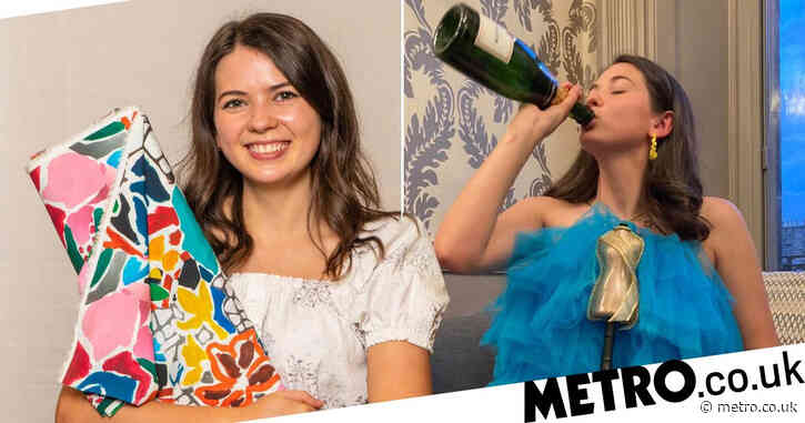 Great British Sewing Bee's youngest ever winner Serena Baker downs a bottle of bubbles in one of her own gowns to celebrate like a true icon