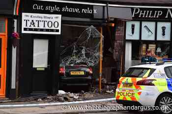 Car skids out of control, smashing into Pudsey barber shop