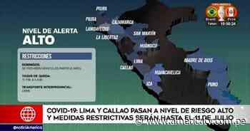 Coronavirus: Lima Metropolitana y Callao pasarán a nivel alto desde el lunes 21 y se modificarán actividades y aforos - América Televisión