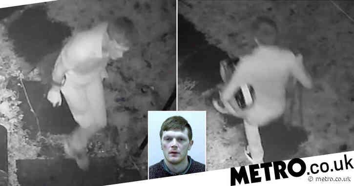 Burglar with one leg caught on CCTV hopping away from the scene