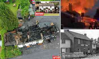 Historic Kent village pub built in 1884 is destroyed by fire 'after it was struck by lightning'