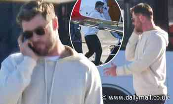 Chris Hemsworth appears to have a tense conversation as he stands beside his private jet in Sydney - Daily Mail