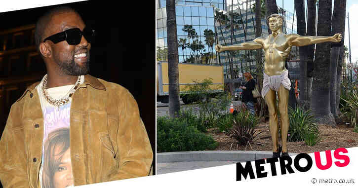 Golden life-size sculpture of Kanye West crucifixion is going on sale for $30k