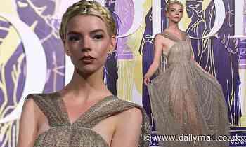 Anya Taylor-Joy wows in a semi-sheer gold dress at Dior fashion show in Athens