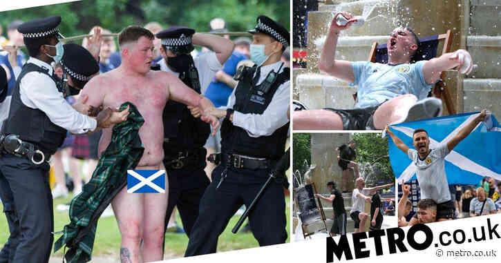 Naked Scotland fan led away by cops as scenes in London get rowdy ahead of Euros showdown