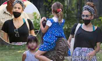 Eva Mendes, 47, and daughters Esmeralda and Amada go sightseeing in France