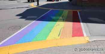 Police investigate after Pride crosswalk vandalized in Orangeville, Ont. - Global News