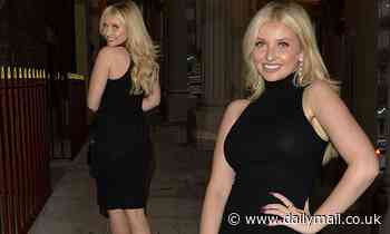 Love Island's Amy Hart steps out in a form-fitting LDB after dining with pals in London