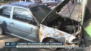Quatro carros são incendiados durante madrugada em Campinas, e suspeito diz ter agido 'em nome de Deus' - G1