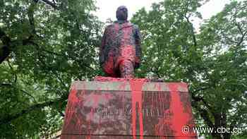 Red paint used to deface statue of Winston Churchill outside Edmonton city hall