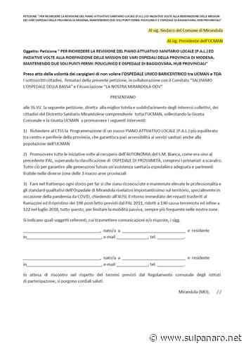Mirandola, ecco dove firmare la petizione per la revisione del piano attuativo sanitario locale - SulPanaro