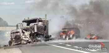 Transport truck crashes, erupts into flames on Hwy. 401 in Colborne   Watch News Videos Online - Globalnews.ca