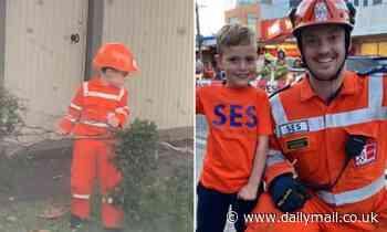 Heartwarming moment a boy, 9, helps volunteers in his own SES uniform in Victoria