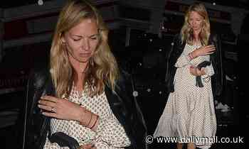 Jodie Kidd cuts a chic figure in a tiered smock dress for drinks with palNoel Gallagher