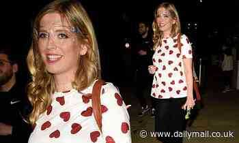 Rachel Rileyshowcases her growing baby bump as she leaves filming for 8 out of 10 Cats