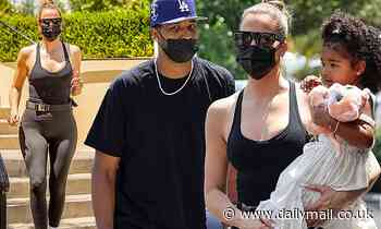 Khloe Kardashian and on-again beau Tristan Thompson grab lunch in Calabasas with daughter True
