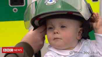 Parents thank the paramedics who saved their premature baby