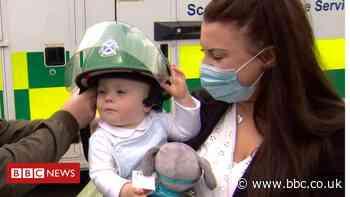 Tears as Glasgow paramedics meet tiny baby they saved