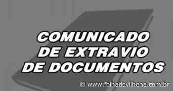 Comunicado de extravio de documentos ⋆ Folha de Vilhena - Folha de Vilhena