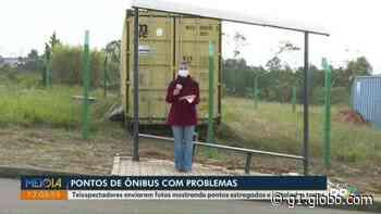Passageiros reclamam de novo ponto de ônibus torto em Ponta Grossa - G1