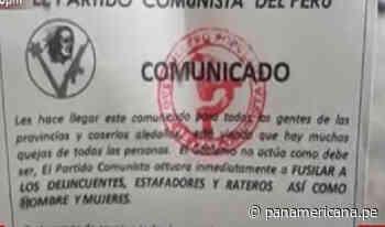 Huánuco: hallan volantes alusivos al partido comunista en el que advierten que van a limpiar la zona - Panamericana Televisión
