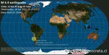 Información del terremoto: Light Mag. 4.4 - Terremoto del Pacífico Sur, 34 km al sur de Valparaíso, región de Valparaíso, Chile, el 16 de junio 4:13 pm (GMT -4) - ElDemocrata