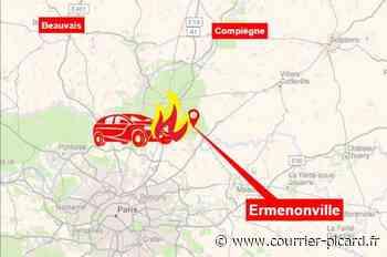 Une voiture en feu sur la route entre Senlis et Meaux - Le Courrier picard