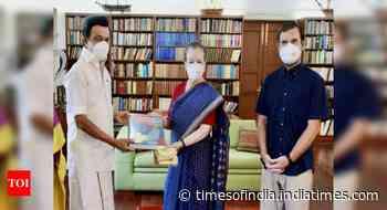 DMK chief MK Stalin meets Sonia, Rahul