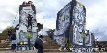 Colectivos de artistas pintan pedestal de Sebastián de Belalcázar en Popayán - Canal 1